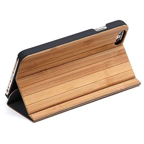 WOLA für iPhone 5 / 5s / SE Holzhülle Forrest Handyhülle und Holz - Bambus Klapp- Fliphülle mit Magnet Bambus Klapp-handy