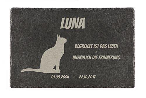 """Schiefertafel / Tiergrabstein mit witterungsbeständiger Lasergravur Motiv """"Katze"""" 30 x 20 cm"""