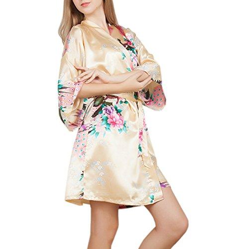 XueXian(TM) Damen Sommer Nachtwäsche Schlafanzug Kimono Robe mit Pfau und Blumen Muster in Vierzehn Farben Fleischfarbe