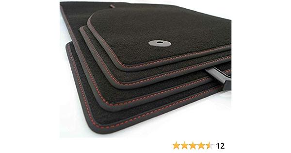 Kh Teile Fußmatten Passend Für Alhambra Ii Premium Qualität Automatten Velours Schwarz Nubuk Schwarz Mit Ziernaht Rot Auto