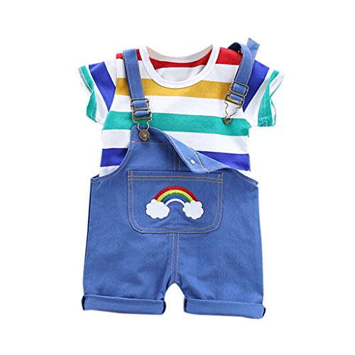 Kinder Regenbogen Streifen Tops T-Shirt Riemen Kurze Outfits Set,Baby Jungen Bekleidungssets Baby Kleikind FüR Sommer Festliche Taufe Hochzeit(Blau,90) ()
