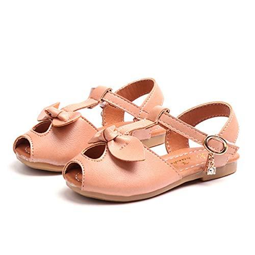 Mädchen Sommer Bowknot Peep Toe Flachen Sandalen Bequeme Prinzessin Kleid Schuhe (Kleinkind/Kleines Kind) (Kleinkind Elfenbein Kleid Schuhe)