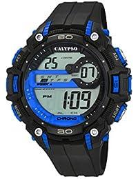 Calypso – Reloj digital unisex con LCD Pantalla Digital Dial y correa de plástico en color negro K5690/3