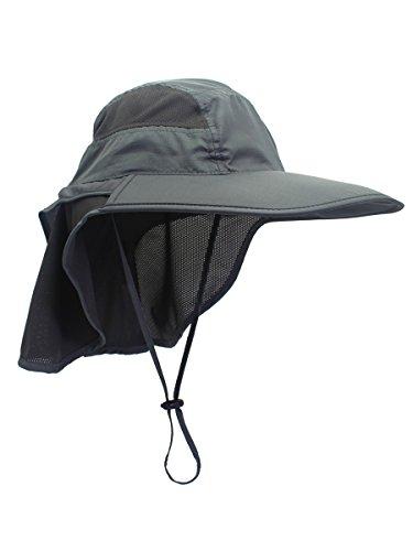 Unisex UV Schutz Sonnenhut mit Nackenschutz 12cm Großer Brim Outdoor Aktivitäten - für Kopfumfang 56-62cm Dunkelgrau