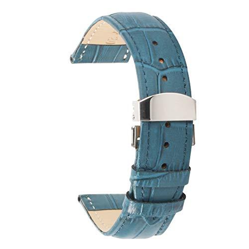 Uhrenarmband 14mm Frauen Männer echtes Leder Uhrenarmbänder blau mit Metallschnalle für Männer Frauen