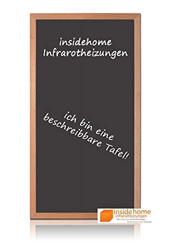 insidehome   Infrarotheizung Tafel CLASSIC   Vollholz - Rahmen Buche 30mm   hochwertige Glasheizung sandgestrahlt   deutscher Hersteller   600 Watt (110x60x2,5 cm)
