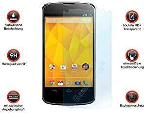 Gforce75® ?Premium Gehärtetes HD+ Panzerglas für LG Google Nexus 4 Displayschutz - Panzerfolie – Sicherheitsglas – Tempered Glass Protection Screen - 0,3mm Hartglas – 9H Ultra Hart - 2.5D round edge