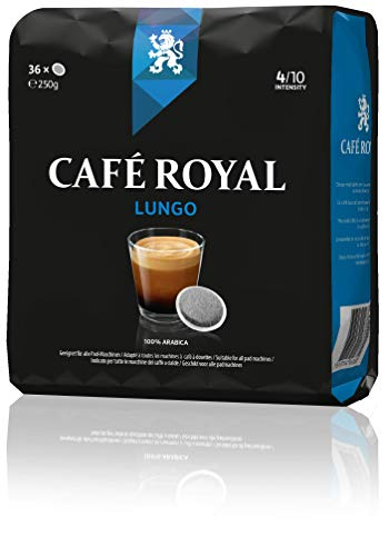 Café Royal Lungo 180 (kompatible Kaffeepads für Senseo (R)*, Intensität 4/10) 5er Pack (5 x 36 Kaffee-Pads)