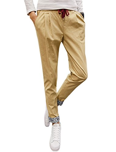 sourcingmap Man Slim Fit Conique élastique Cordon Pantalon Beige
