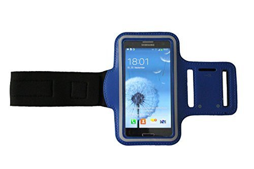 Sport-armband Dunkel-Blau, Fitness-hülle Running Handy Tasche Case für Apple ipod touch g iphone 3 4 5 S C, Samsung Galaxy 3 und 4 mini, Huawei Y330 Nokia Lumia 530, 532 Kopfhöreranschluss -Dealbude24 (Dunkelblau) -