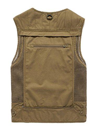 Gilet GLF Uomo Casual Cotone Multi-tasca Uomo Vest Genuine V-collo Pesca Mountain Net Fishing Net 1