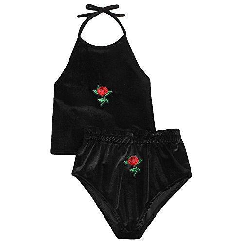 JMETRIC Damenmode Wild Rose bestickte Wildleder-Camisole + Shorts Anzug