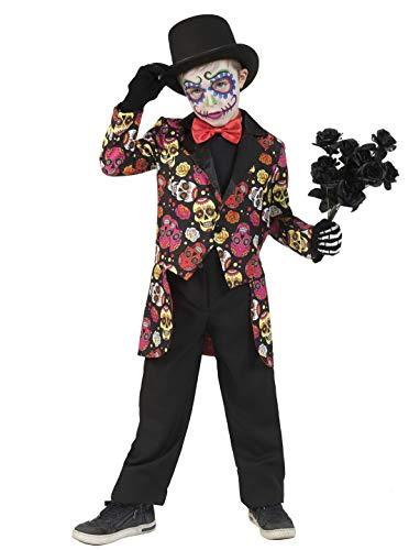 Halloweenia - Jungen Kinder Kostüm, Day of The Dead Costume Muerto Manu,perfekt für Halloween Karneval und Fasching, 164, Schwarz