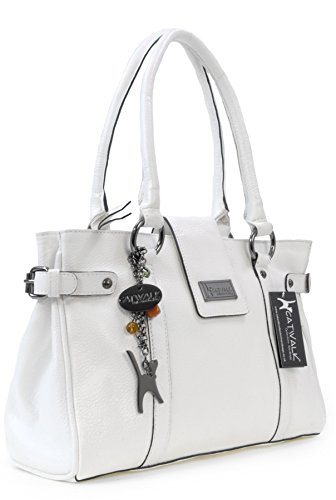 Catwalk Collection Handbags ,  Damen Schultertasche Weiß