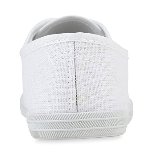 Unisex Basic Sneaker | Damen Sneakers | Herren Sneaker Low | Freizeit Turnschuhe Stoff | Schnürschuhe Weiß