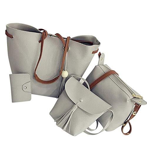XZANTE Frauen Handtaschen 4 Stücke Set Pu Leder Handtasche Schulter Umh?nge Tasche Geldb?rse Geldb?rse mit Quasten (Grau)