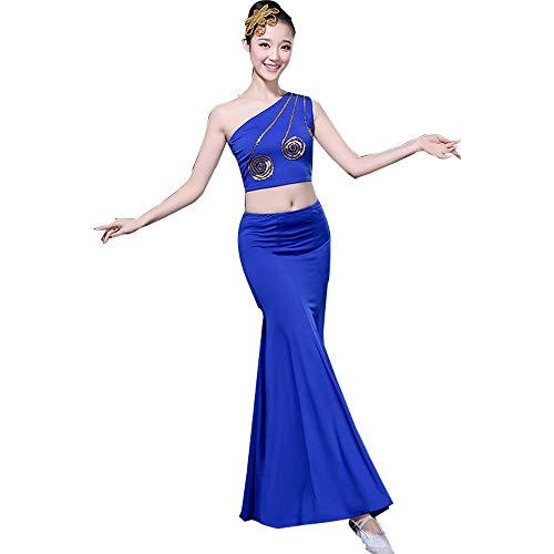 Jian E& Tanzperformance Kostüm Weibliche Erwachsene New West Doppel Banna Ethnischen Stil selbst Kultivierung Kunst Test Pfau Dance Rock Blau (Farbe : Blau, größe : XL)