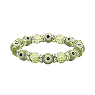 Alexander Kalifano KALIFANO Evil Eye Gorgeous Glass Bracelets - Peridot