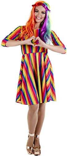 Damen Heller Regenbogen Hippie Hippy Pride Karneval Mardi Gras festival-spaß Kostüm Kleid Outfit ÜberGröße uk 24-26 - UK 12-14 (Mardi Gras Dame Kostüme)