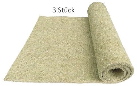Nager-Teppich aus 100 % Hanf, 100 x 50 cm 10 mm dick, 3er Pack (EUR 6,97/Stück), Nagermatte geeignet als Käfig Bodenbedeckung z.B. für Kaninchen, Meerschweinchen, Hamster, Degus, Ratten und andere Nagetiere.