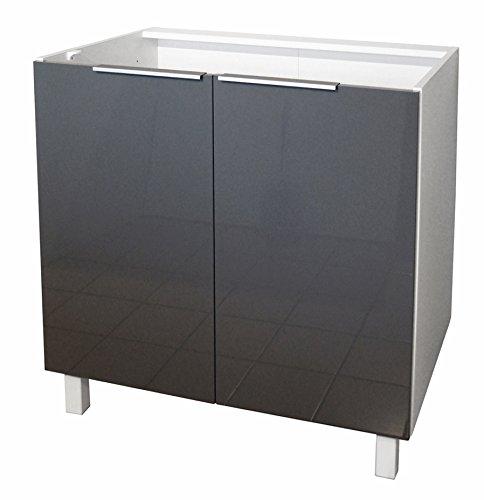 Berlenus mobiletto basso, da cucina, con 2 ante, altro, grigio brillante, 80 x 52