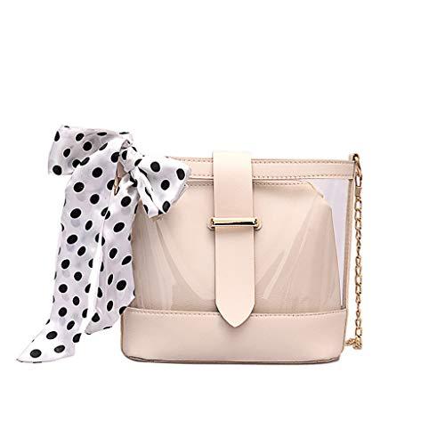 Dorical Transparente Schultertasche für Frauen Damen Kette Handtasche Modisch Schultertaschen/Tasche Paket Handtasche Umhängetasche Mini-Tasche für Hochzeit Shopping Strand(Weiß)