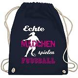 Fußball - Echte Mädchen spielen Fußball weiß - Unisize - Navy Blau - WM110 - Turnbeutel & Gym Bag