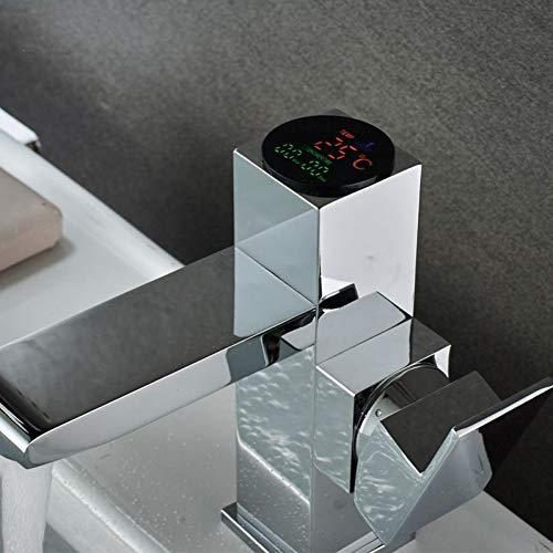 ZHFJGKR&ZL Spültischarmatur Becken Wasserhahn Bad Led Digital Becken Wasserhahn Wasser Power Waschtischmischer Messing Verchromt Ausgeglichenen Wasserhahn -