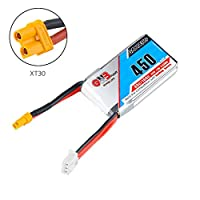 GNB 450mAh 80C 2S 7.4V LiPo Battery Pack with XT30 Plug Wide Version for Mico FPV Racing Drone Quadcopter by FancyWhoop