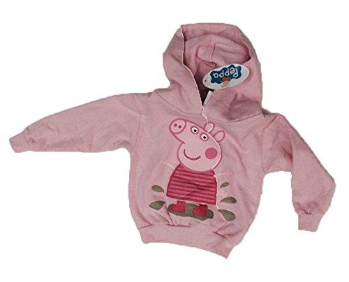 Felpa peppa pig nuova cappuccio - peppa pig salta nel fango - colore rosa taglia 1/2 anni