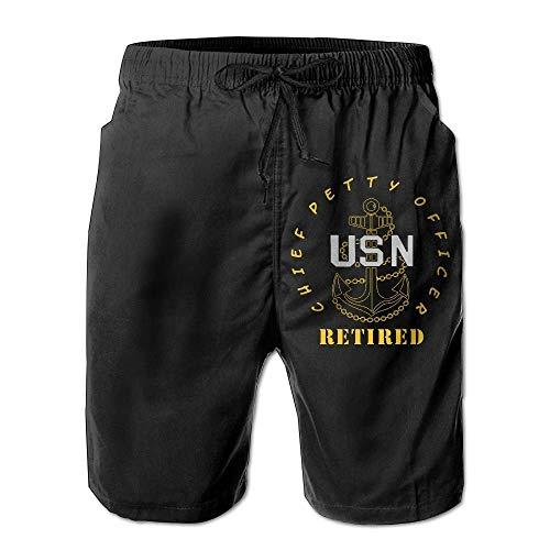 FOSHANSH US Navy - CPO Chief Petty Officer Retired Drawstring Boardshorts Casual Cargo Shorts for Man Large XL -
