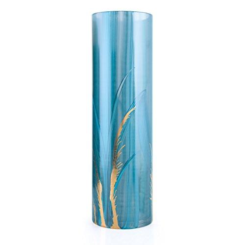Angela neue Wiener Werkstaette 71203001 Glasvase Veredelt zylindrisch, türkisblau, 10 x 10 x 30 cm