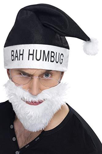 Smiffys 25726 - Bah Humbug Kit mit Hut Bart und Gläser, - Bah Humbug Kostüm