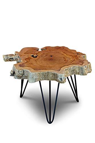 Mesa de centro de rodaja de tronco de árbol