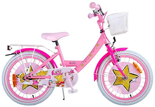 LOL Surprise Kinderfahrrad Mädchen 18 Zoll Vorradbremse am Lenker und Rücktrittbremse Pink 95% Zusammengebaut
