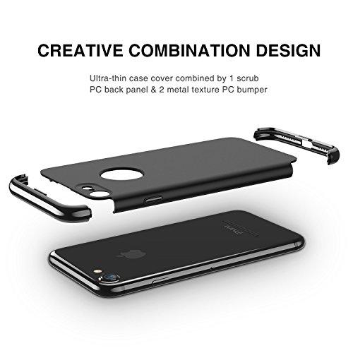 Custodia iPhone 6, 360 Gradi della copertura completa 3 in 1 Hard PC Case Cover Stilosa Protettiva Bumper Antiurto Antigraffio Posteriore Copertura per iPhone 6s Plus black