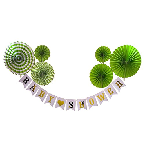 Blesiya Papier Girlande + Papier Pinwheel Falten Fan Baby Party Dekor - Grün Gold (Dekor Papier-fan)