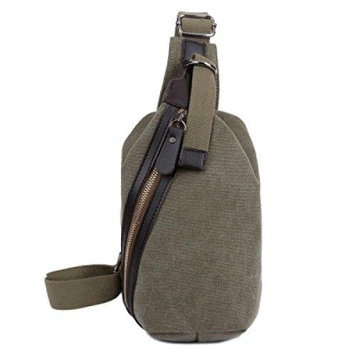 LAIDAYE Leinwand Schulter Diagonal Männer Outdoor-Freizeit-Reisetasche Business-Paket Schultertasche Tasche Brust Green