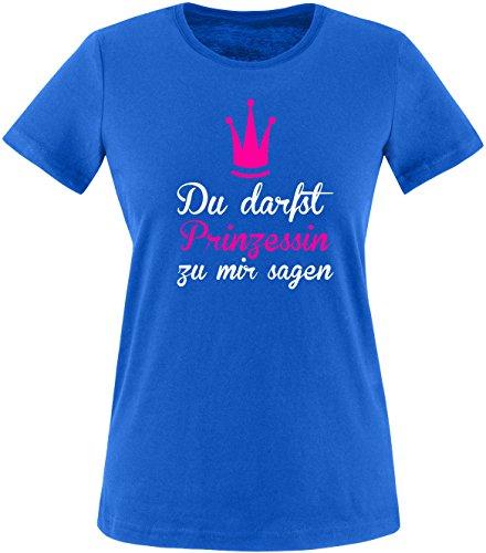 Luckja Du darfst Prinzessin zu mir sagen Damen Rundhals T-Shirt Royal/Weiss/