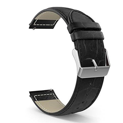 Für Samsung Galaxy Gear S2 Classic SM-R732 Watch Transer® Ersatz Uhrenarmbänder Leder Uhrenarmband Armband für Uhren Länge: 20cm (Schwarz)