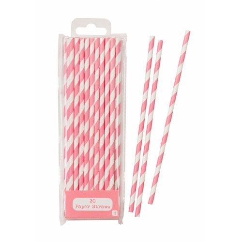30 Papier Strohhalme rosa-weiß gestreift