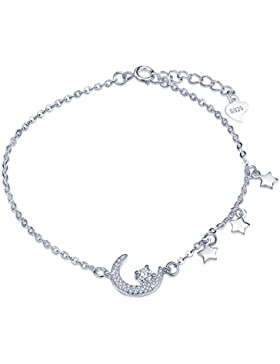 Yumilok 925 Sterling Silber Zirkonia Mond Sterne Charm-Armband Armkette Verstellbar Armkettchen Armschmuck für...