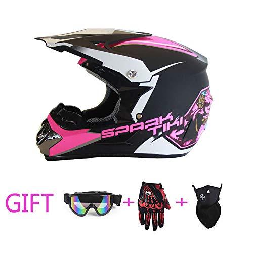 HXZM Motocross-Helm Junge Mädchen Geländewagen bei V Motocross Offroad-Rennhelm, um Offroad-Mschuhe + Brille + Staubmaske zu senden,S (Mädchen Motocross Helm)