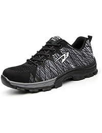 the latest ddd40 a6f2a Wasnton Mujer Hombre Zapatillas de Seguridad Deportivos con Puntera de  Acero Zapatos de Trabajo Entrenador Unisex