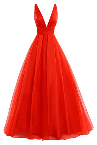 Fanciest Women's V Neck Ball Kleid Lang Kleides Evening Formelle Ballkleid  Abendkleider 2016 Red
