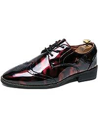 Color : Rot, Größe : 39 EU Jiuyue-shoes Sommer 2018 Herren Business Oxford Schuhe Persönlichkeit Mode Trend Farbe Low-Top Brogue Lackleder Formelle Schuhe