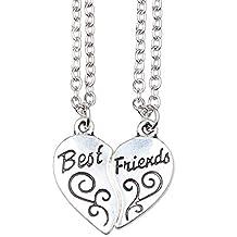 """ISHOW Tono de plata mejores amigos BFF """"Best Friends"""" corazón partido collar colgante 2 piezas"""