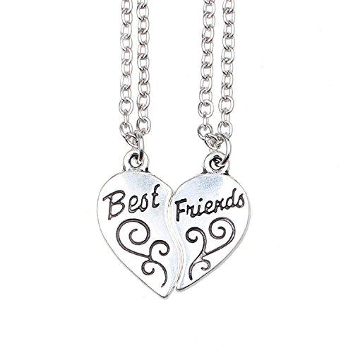 ISHOW Tono de Plata Mejores Amigos BFF Best Friends corazón Partido Collar...