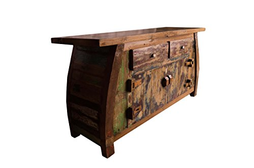 (K15)Vintage Teak gebogene Kommode, Kabinett, Sideboard, Schrank, Shabby, Antik Retro, Chic - 3