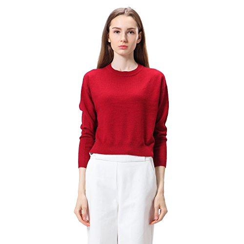 La Camicia di Copertura Maglione Allentato Nuovi Pulsanti Decorativi Donne (L, rosso)